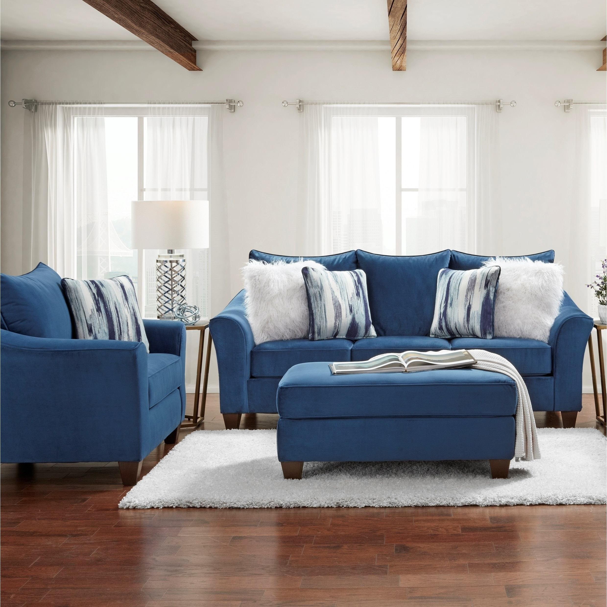 Picture of: Camero Fabric Pillowback 3 Piece Sofa Set In Navy Blue Overstock 30689110