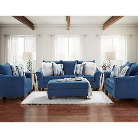 Camero Fabric Pillowback 4-Piece Sofa Set in Navy Blue