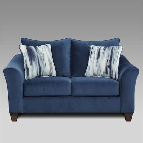 Camero Fabric Pillowback Loveseat in Navy Blue