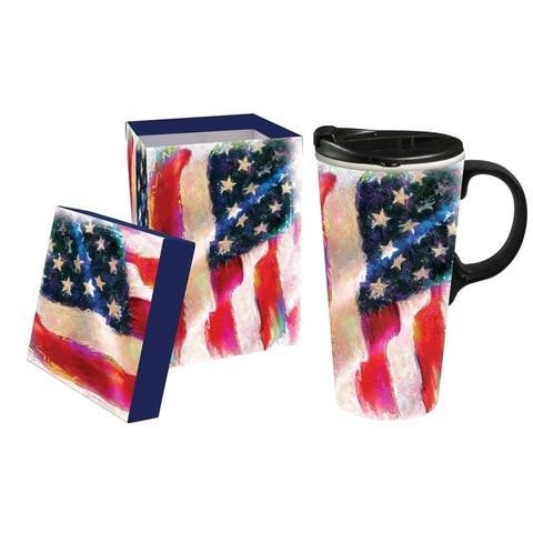 American Flag 17 fl. oz. Ceramic Travel Cup with Matching Gift Box