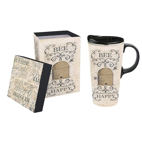 Bee Happy 17 fl. oz. Ceramic Travel Cup with Matching Gift Box