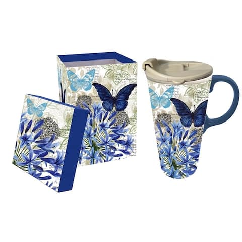 Blue Floral Study 17 fl. oz. Ceramic Travel Cup with Matching Gift Box