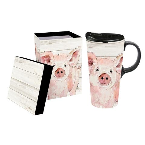 Pretty Pink Pig 17 fl. oz. Ceramic Travel Cup with Matching Gift Box