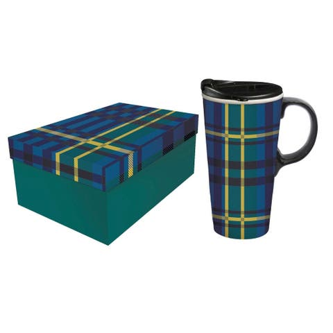 Green and Blue Plaid 17 fl. oz. Ceramic Travel Cup with Matching Gift Box