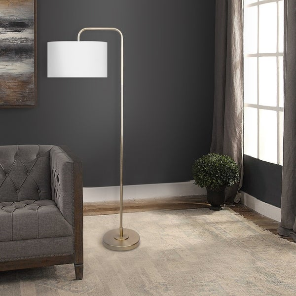 Porch & Den Sandpines Plated Gold Bent Arm Floor Lamp with White Drum Shade. Opens flyout.