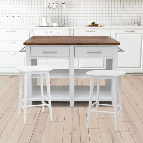 Hendry White Counter Kitchen Island 3-Piece Set by Greyson Living