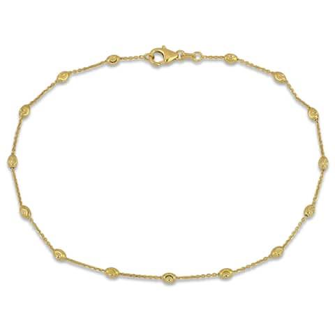 Miadora 18k Yellow Gold Oval Diamond-Cut Ball Station Bracelet
