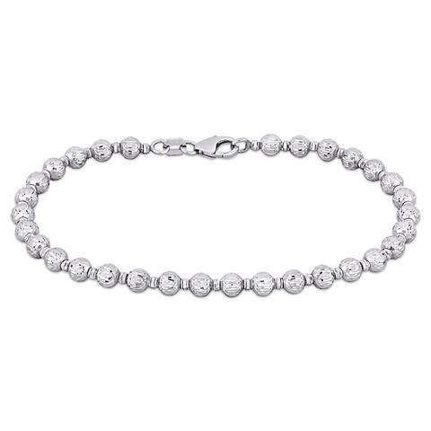 Miadora 18k White Gold Diamond Cut Ball Bead Design Bracelet