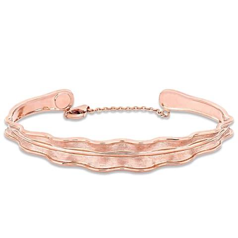 Miadora 18k Rose Gold Leaf Bangle Bracelet