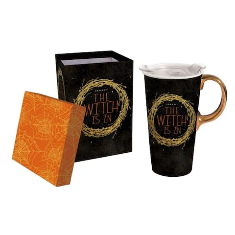 The Witch Is In 17 fl. oz. Ceramic Travel Cup w/ Tritan Lid and Matching Gift Box