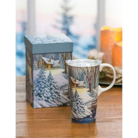Cottage 17 fl. oz. Ceramic Travel Cup w/ Tritan Lid and Matching Gift Box
