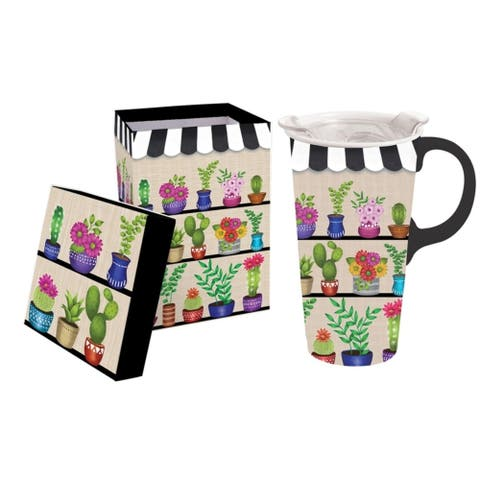 Shelves of Floral 17 fl. oz. Ceramic Travel Cup w/ Tritan Lid and Matching Gift Box