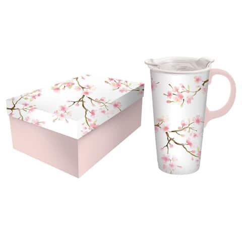 Cherry Blosson 17 fl. oz. Ceramic Travel Cup w/ Tritan Lid and Matching Gift Box