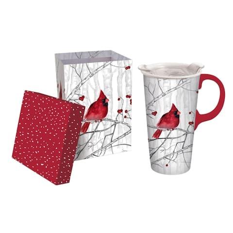 Perching Cardinal 17 fl. oz. Ceramic Travel Cup w/ Tritan Lid and Matching Gift Box