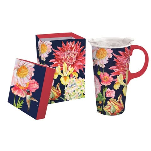 English Garden 17 fl. oz. Ceramic Travel Cup w/ Tritan Lid and Matching Gift Box