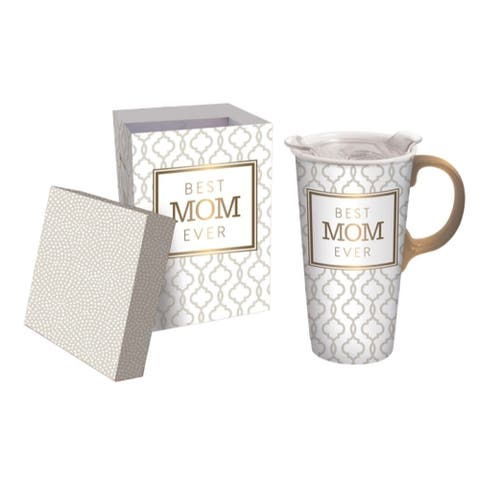 Best Mom Ever 17 fl. oz. Ceramic Travel Cup w/ Tritan Lid, Mini Ornament, and Matching Gift Box