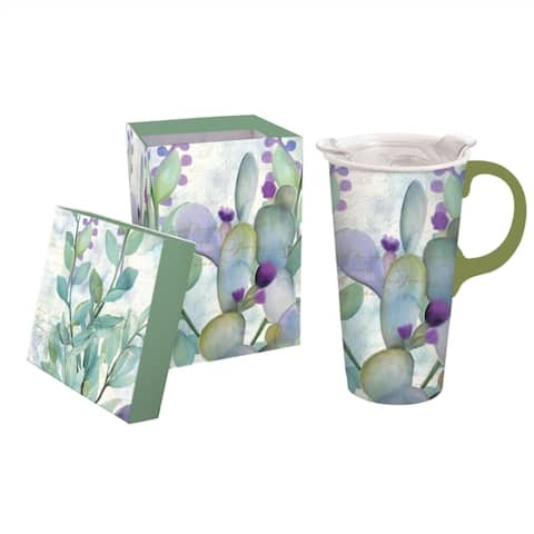 Serene Floral 17 fl. oz. Ceramic Travel Cup w/ Tritan Lid and Matching Gift Box