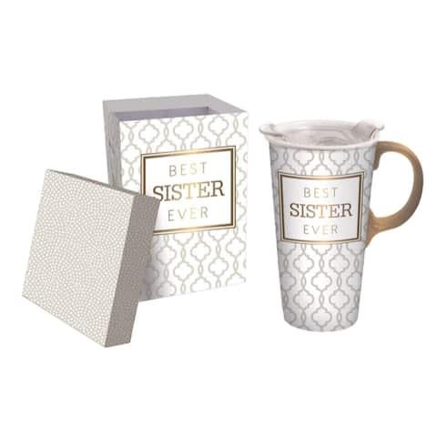 Best Sister Ever 17 fl. oz. Ceramic Travel Cup w/ Tritan Lid, Mini Ornament, and Matching Gift Box
