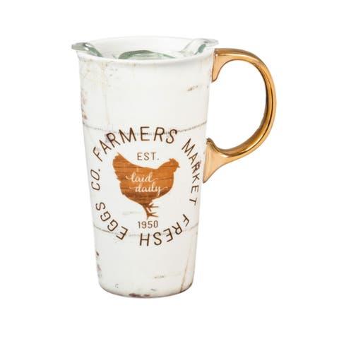 Farmers Market 17 fl. oz. Ceramic Travel Cup w/ Tritan Lid and Matching Gift Box