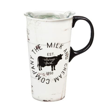 Milk and Cream Company 17 fl. oz. Ceramic Travel Cup w/ Tritan Lid and Matching Gift Box