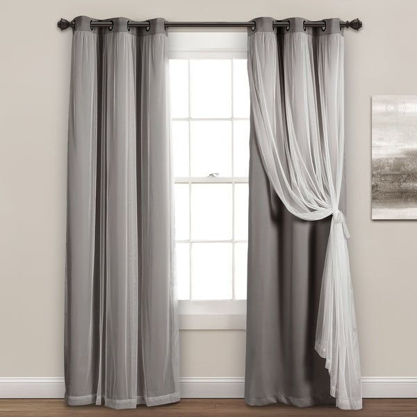 """Lush Decor Grommet Sheer Panels with Insulated Blackout Lining 84"""" x 38"""" In Navy (As Is Item). Opens flyout."""
