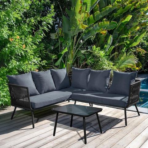 Abbyson Tempe 2 Piece Outdoor Sectional Sofa