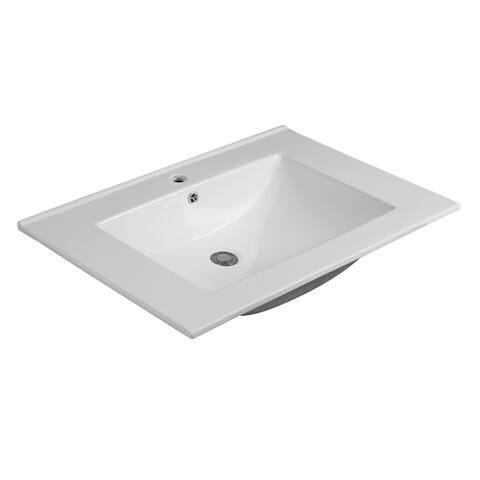CB HOME White Ceramic 31-Inch Wide Thick Edge Rectangle Bathroom Sink