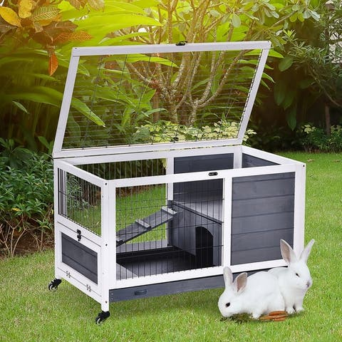 PawHut Wooden Indoor Rabbit Hutch Elevated Cage Habitat with Enclosed Run with Wheels, Ideal for Rabbits and Guinea Pigs - Grey