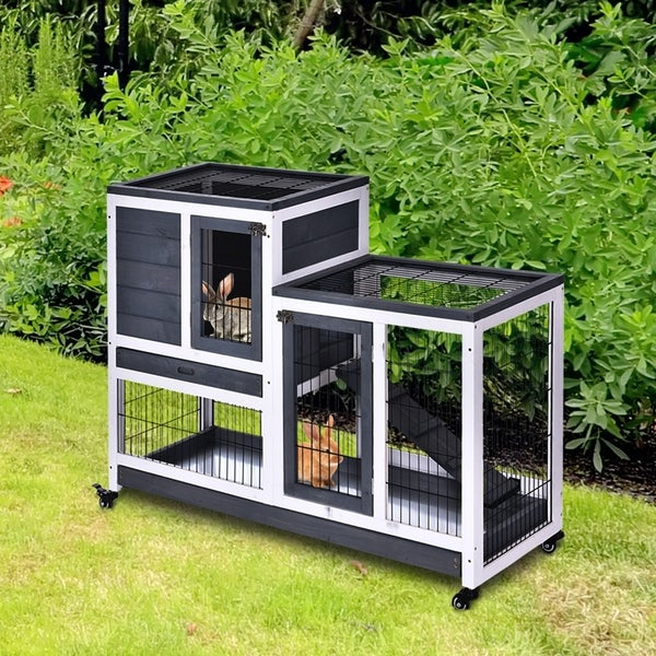 PawHut Wooden Indoor Rabbit Hutch Elevated Cage Habitat with Enclosed Run with Wheels, Ideal for Rabbits and Guinea Pigs. Opens flyout.