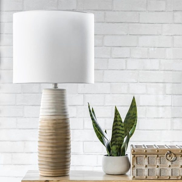 """nuLOOM Monterey 30"""" Contemporary Brown & Beige Ceramic Table Lamp"""
