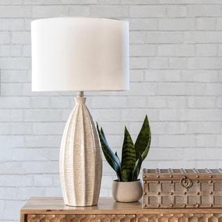 "nuLOOM Hilo 27"" Contemporary Beige Ceramic Table Lamp"