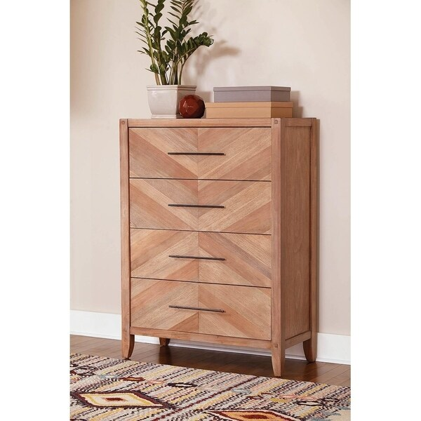 Willa White Washed Natural 4-drawer Chest