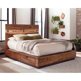 Mallory Smokey Walnut and Coffee Bean Storage Platform Bed