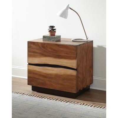 Mallory Smokey Walnut and Coffee Bean 2-drawer Nightstand