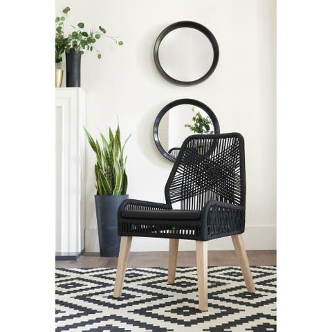 Della Woven Back Dining Chairs (Set of 2)