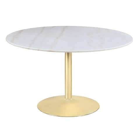 Raleigh White and Brass Pedestal Dining Table