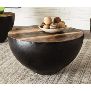 Ula Natural and Black Drum Shaped Coffee Table