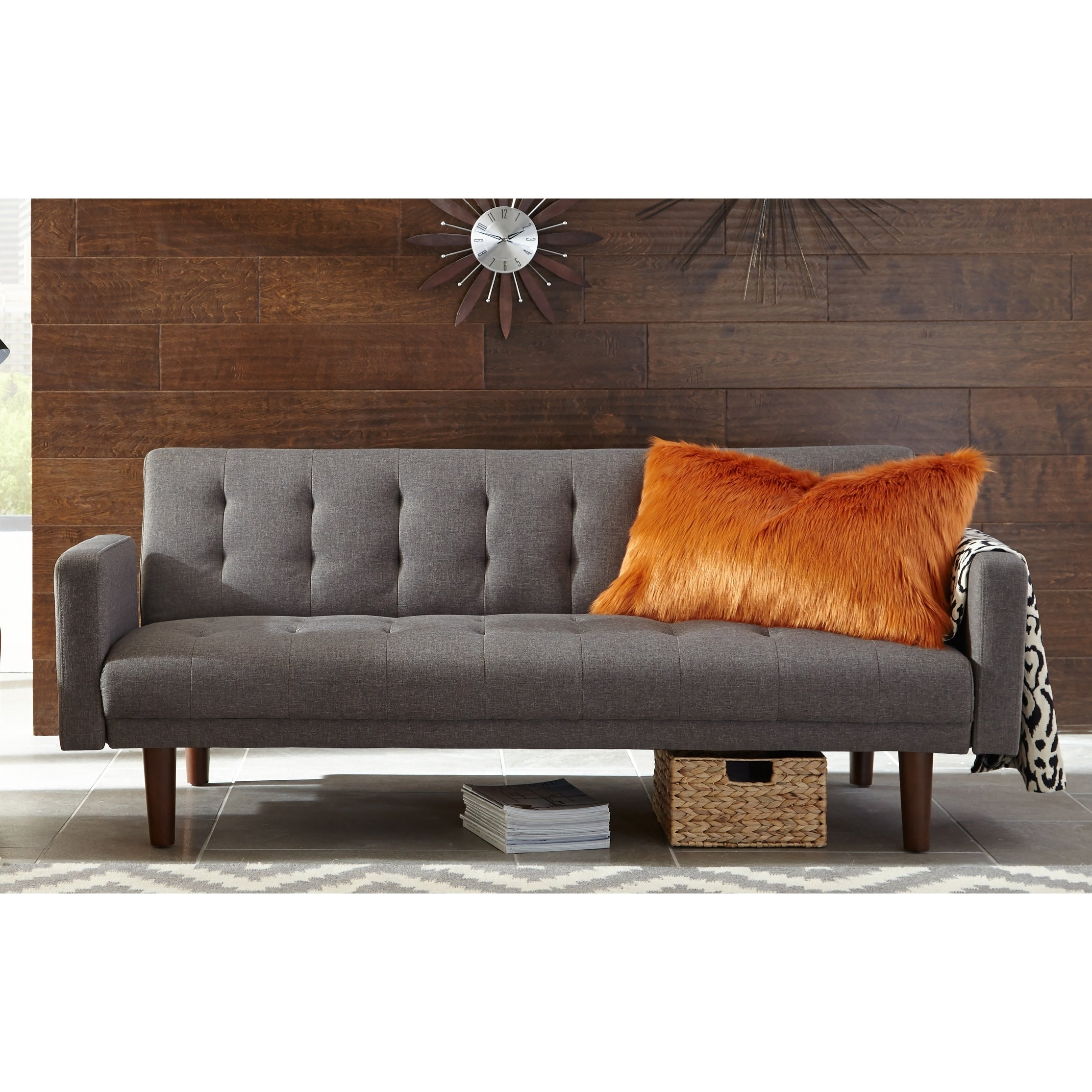Grey And Walnut Tufted Back Sofa Bed