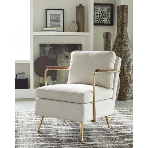 Trenton Beige and Brass Cushion Back Accent Chair