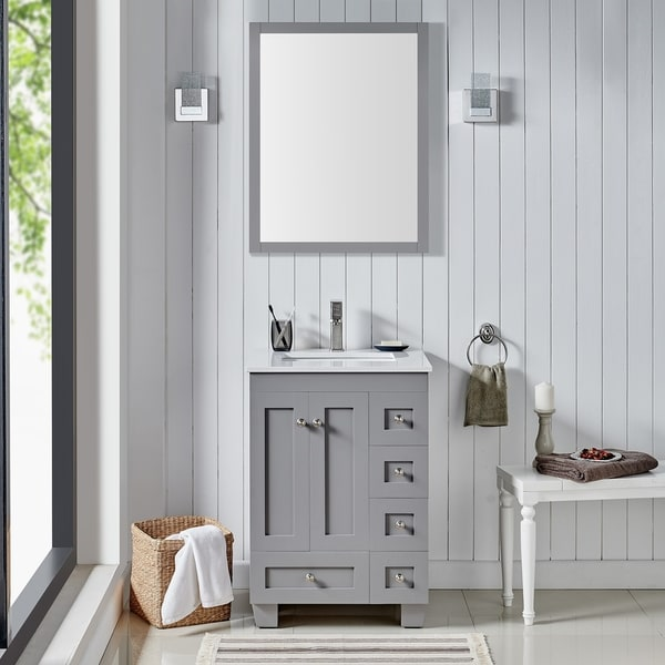 """Eviva Acclaim C. 24"""" Transitional Grey Bathroom Vanity with white carrera marble counter-top"""