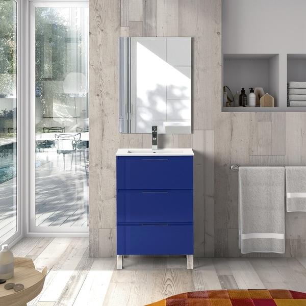 EVIVA Malmo 20 Inch by 14 Inch Freestanding Marino Blue Bathroom Vanity - N/A