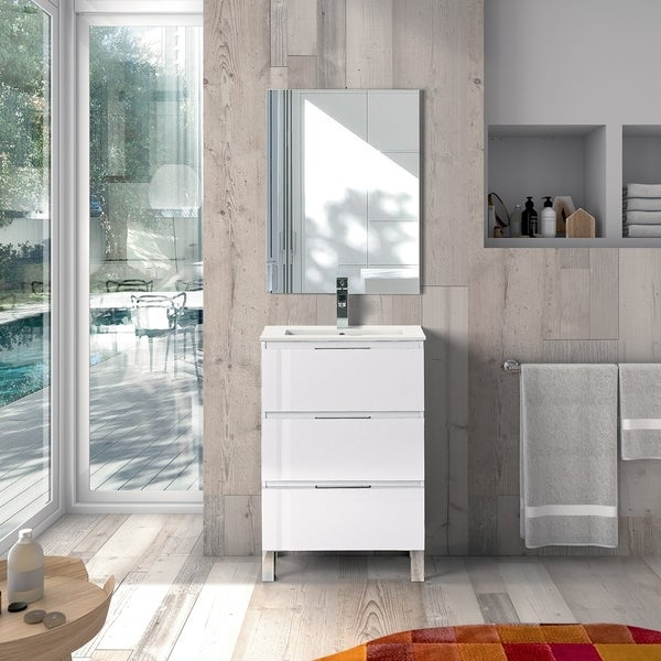 EVIVA Malmo 20 Inch by 14 Inch Freestanding White Bathroom Vanity