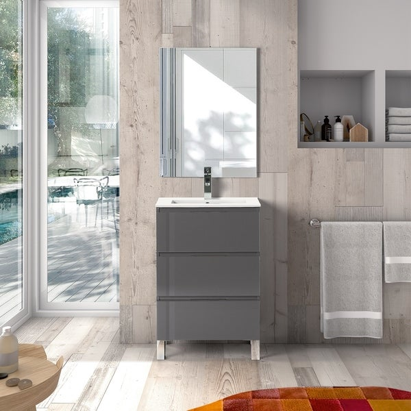EVIVA Malmo 28 Inch by 14 Inch Freestanding Grey Bathroom Vanity