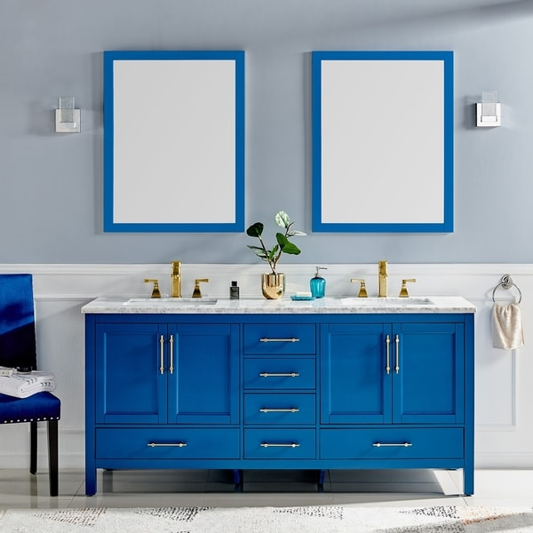 Eviva Navy 72 inch Deep Blue Bathroom Vanity with White Carrera Counter-top and Double White Undermount Porcelain Sinks - N/A