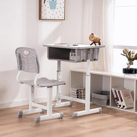 Adjustable Kids Desk and Chairs Set with Storage Space Student School Desk Set