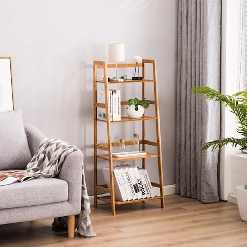 4 Tier Modern Bamboo Wood Bookshelf Storage Organizer Bookcase Shelf
