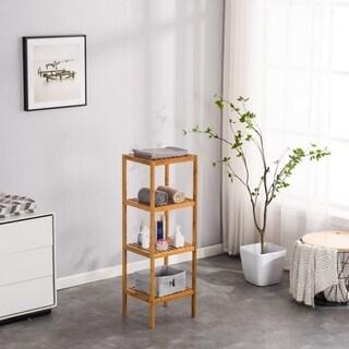 4 Shelf Utility Shelf Bamboo Wood Shelving Organization & Storage for Living room, bathroom, kitchen
