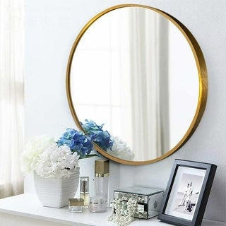 Link to Carson Carrington Lungsnas Round Wall-mounted Hanging Vanity Mirror - 23.62''x23.62'' Similar Items in Mirrors