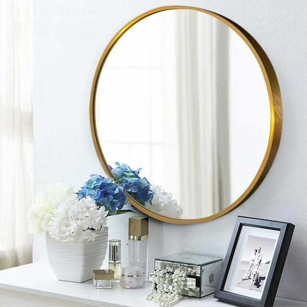 Modern Home Round Metal Wall Mounted Hanging Vanity Mirror - 23.62''x23.62''