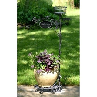 Havenside Home 45-inch 2-pot Plant Stand with Welcome Sign